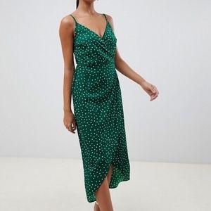 ASOS | NWT cami wrap polka dot midi dress